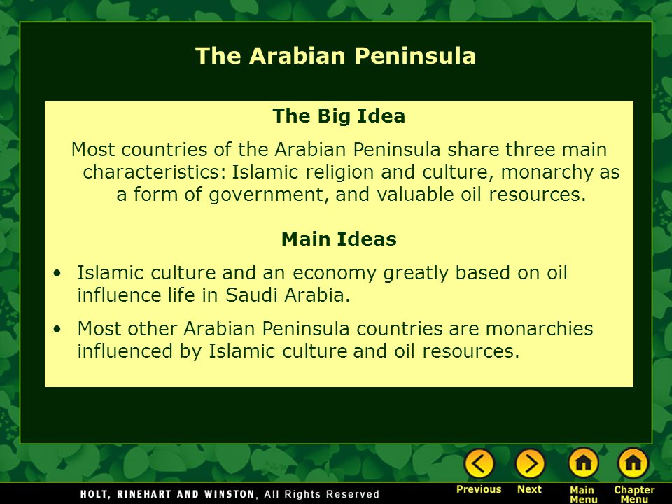 The Arabian Peninsula The Big Idea