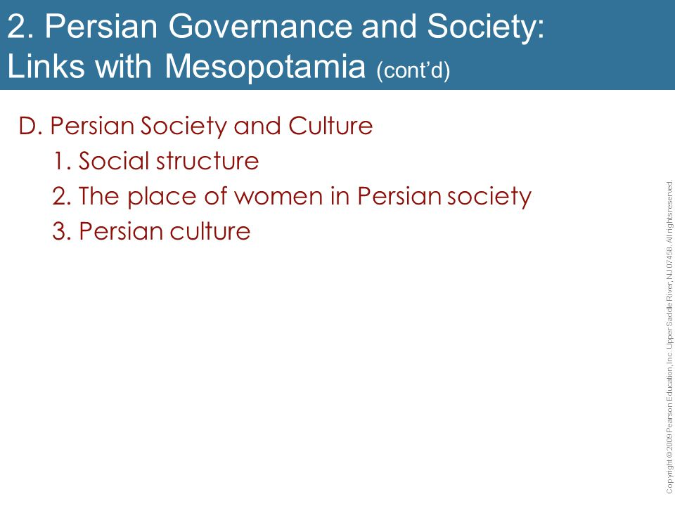 2. Persian Governance and Society: Links with Mesopotamia (cont'd)