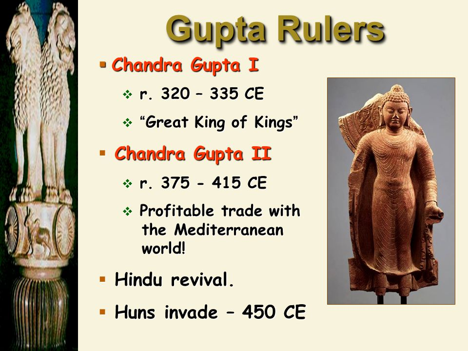 Gupta Rulers Chandra Gupta I Chandra Gupta II Hindu revival.