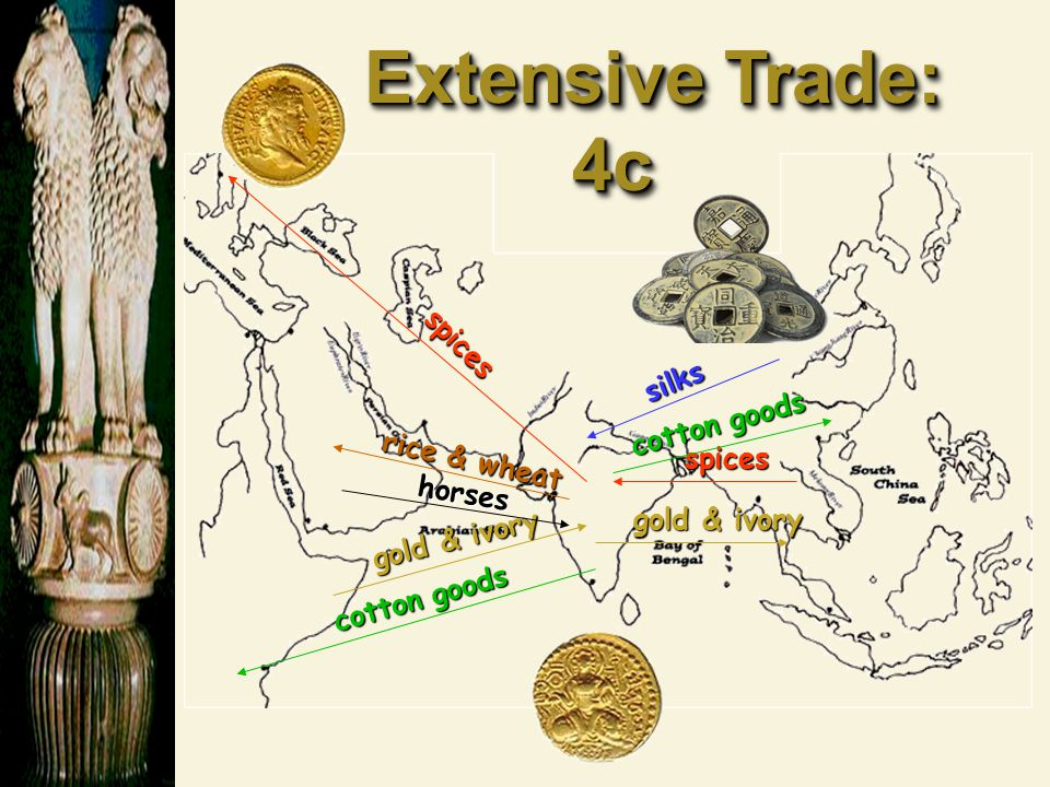 Extensive Trade: 4c spices silks cotton goods rice & wheat spices