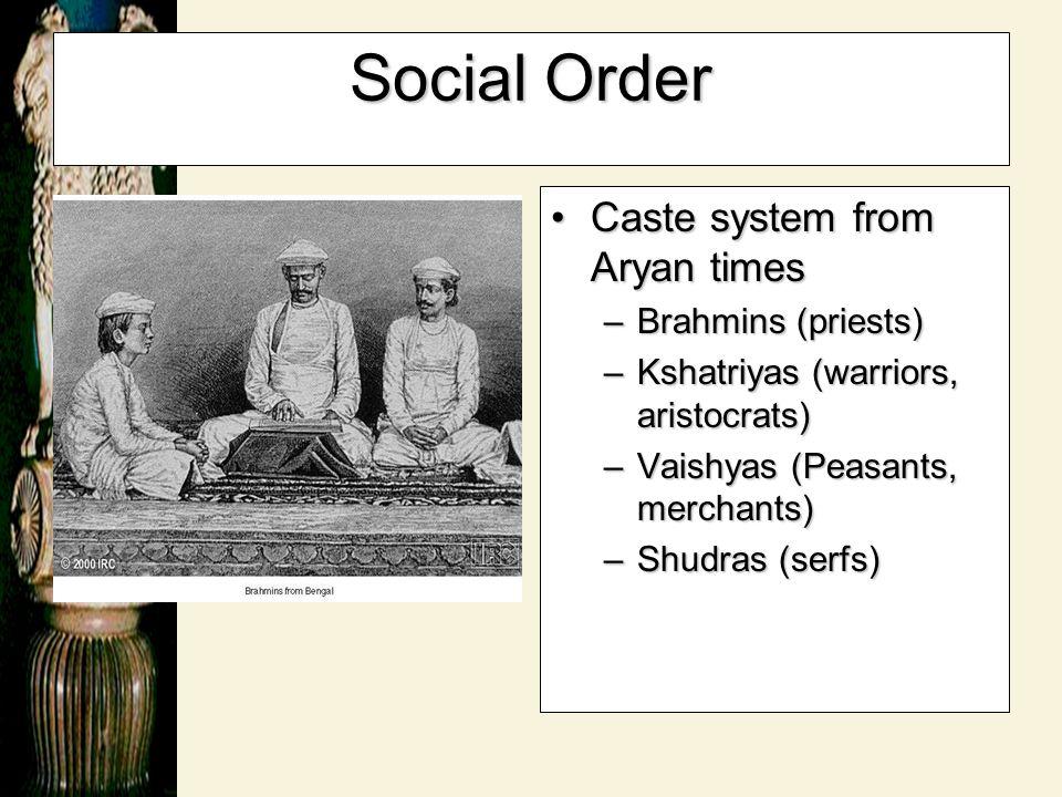 Social Order Caste system from Aryan times Brahmins (priests)