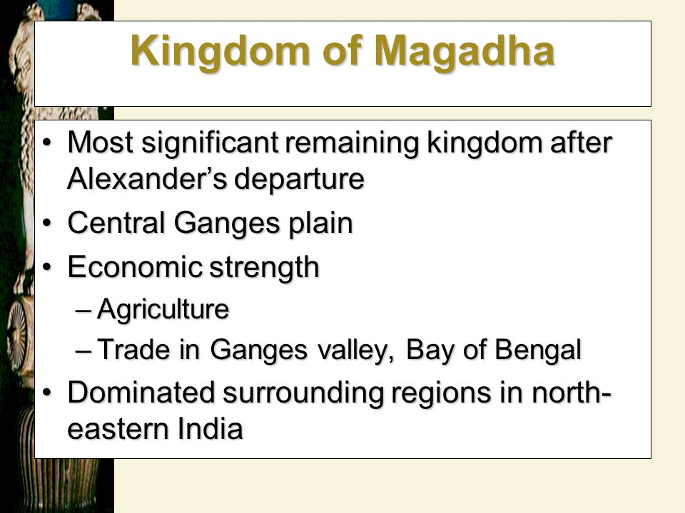 Kingdom of Magadha Most significant remaining kingdom after Alexander's departure. Central Ganges plain.