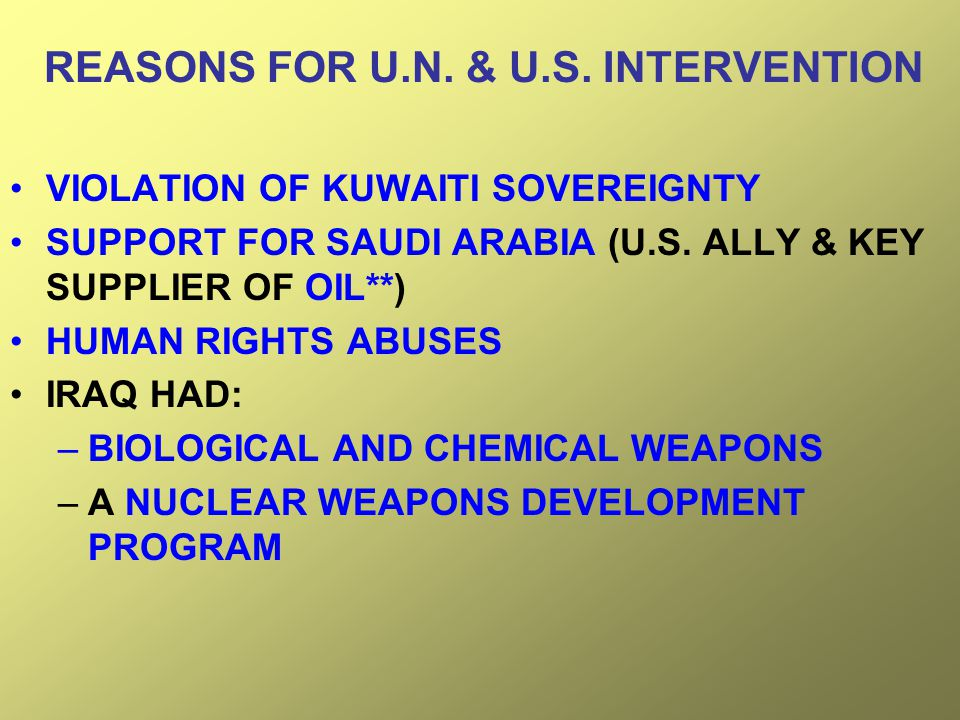 REASONS FOR U.N. & U.S. INTERVENTION