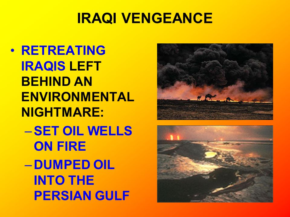 IRAQI VENGEANCE RETREATING IRAQIS LEFT BEHIND AN ENVIRONMENTAL NIGHTMARE: SET OIL WELLS ON FIRE.