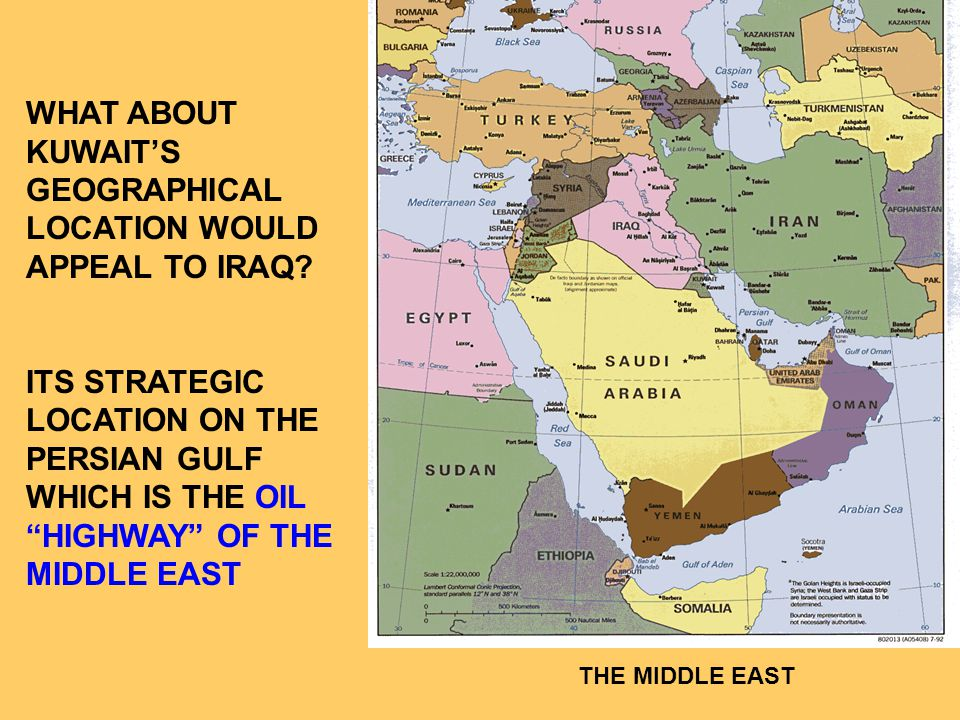 WHAT ABOUT KUWAIT'S GEOGRAPHICAL LOCATION WOULD APPEAL TO IRAQ