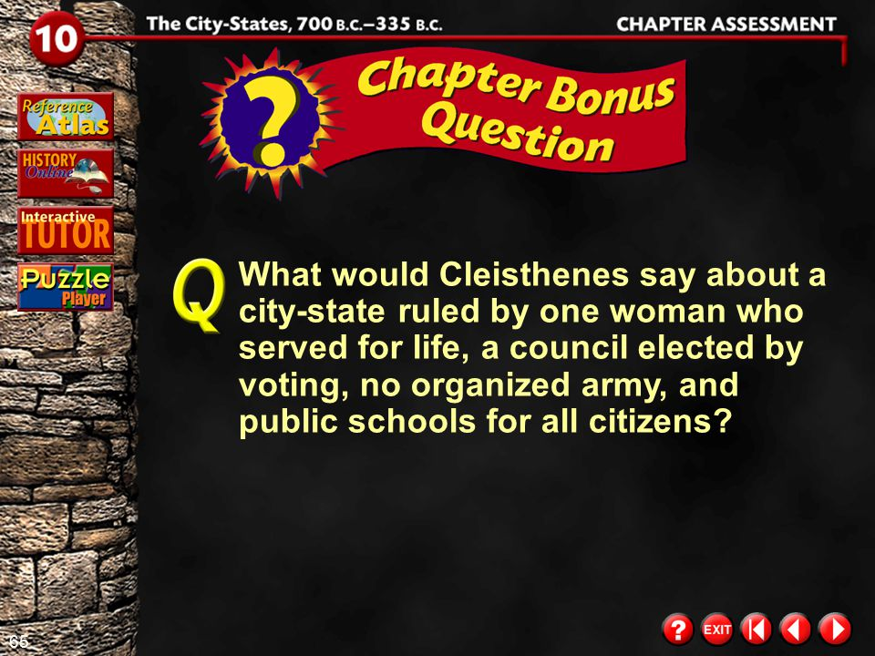What would Cleisthenes say about a city-state ruled by one woman who served for life, a council elected by voting, no organized army, and public schools for all citizens
