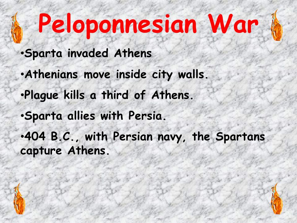Peloponnesian War Sparta invaded Athens