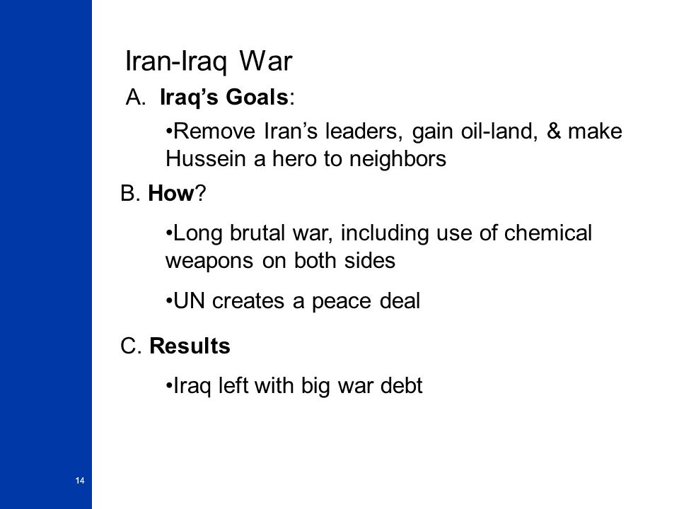Iran-Iraq War A. Iraq's Goals: