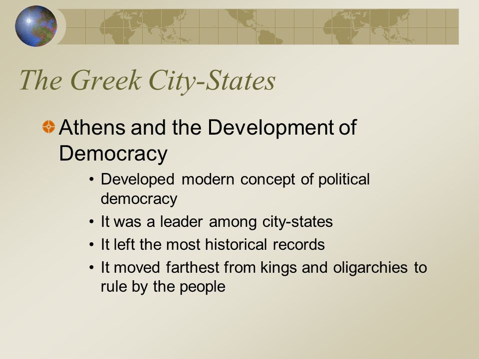 The Greek City-States Athens and the Development of Democracy