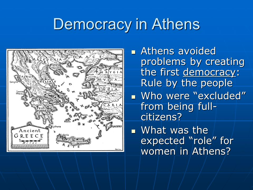 Democracy in Athens Athens avoided problems by creating the first democracy: Rule by the people. Who were excluded from being full-citizens