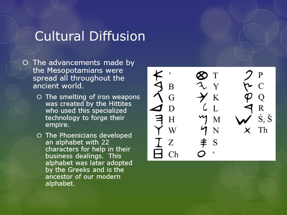 Cultural Diffusion The advancements made by the Mesopotamians were spread all throughout the ancient world.