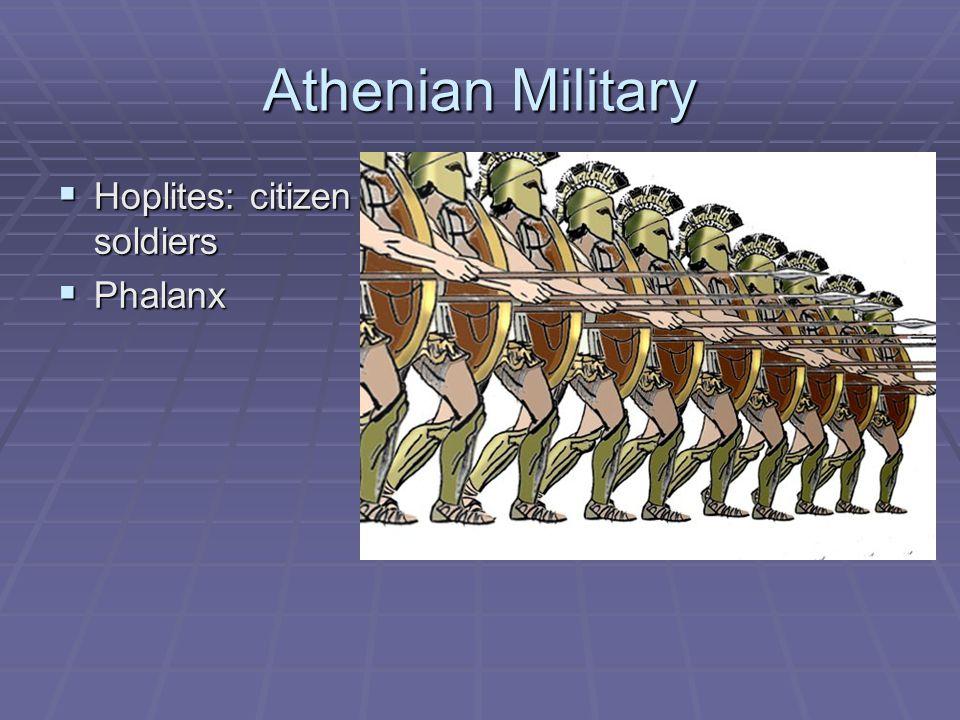 Athenian Military Hoplites: citizen soldiers Phalanx