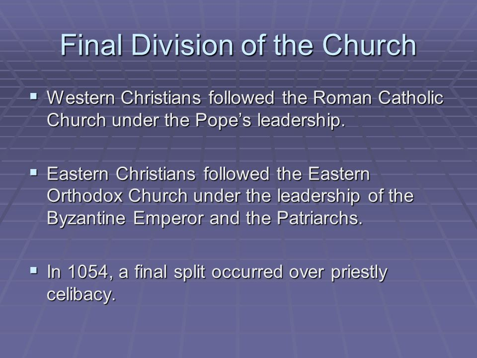 Final Division of the Church