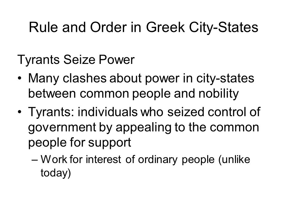 Rule and Order in Greek City-States