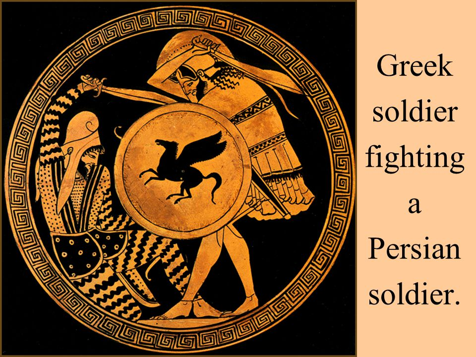 Greek soldier fighting a Persian soldier.