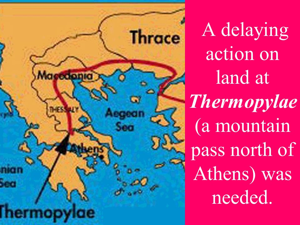 A delaying action on land at Thermopylae (a mountain pass north of Athens) was needed.