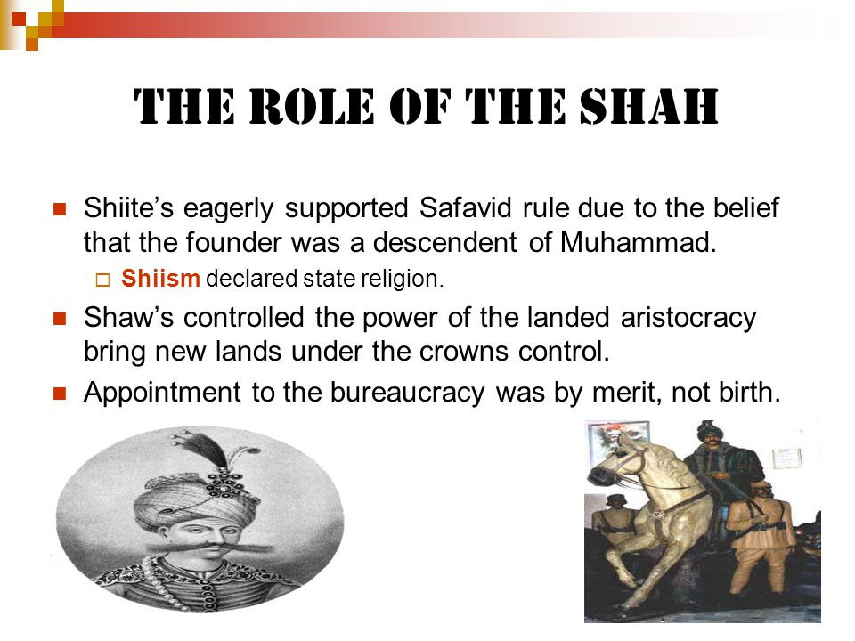 The Role of the Shah Shiite's eagerly supported Safavid rule due to the belief that the founder was a descendent of Muhammad.