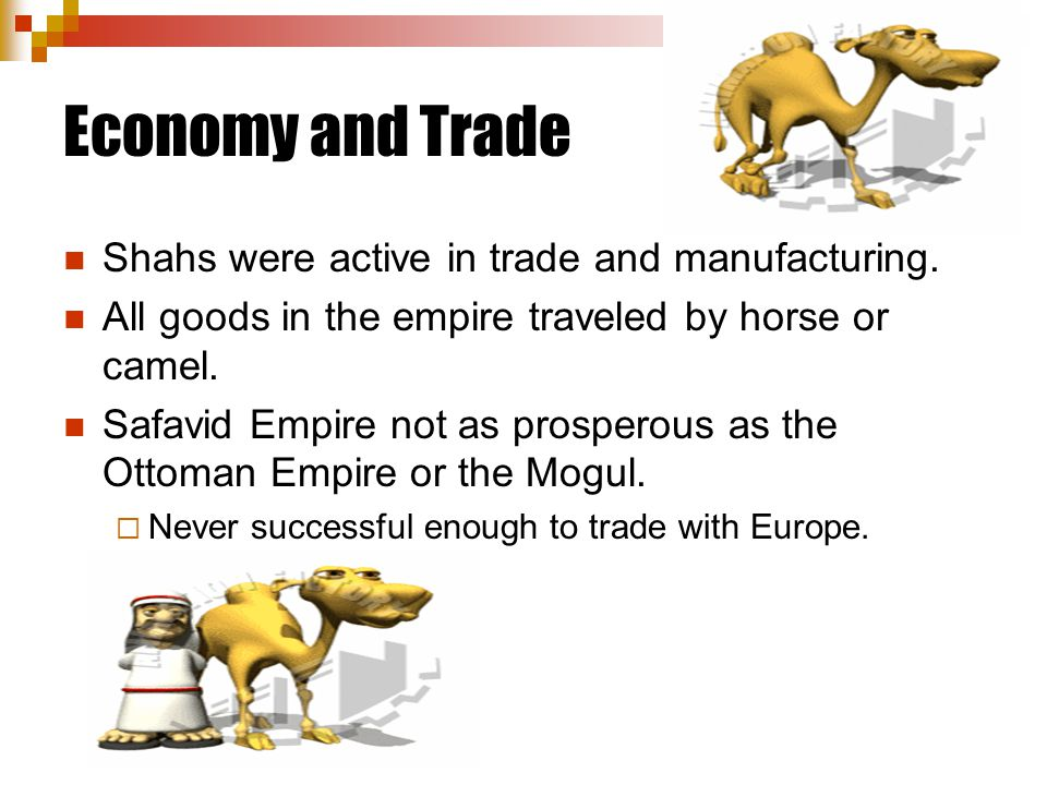 Economy and Trade Shahs were active in trade and manufacturing.