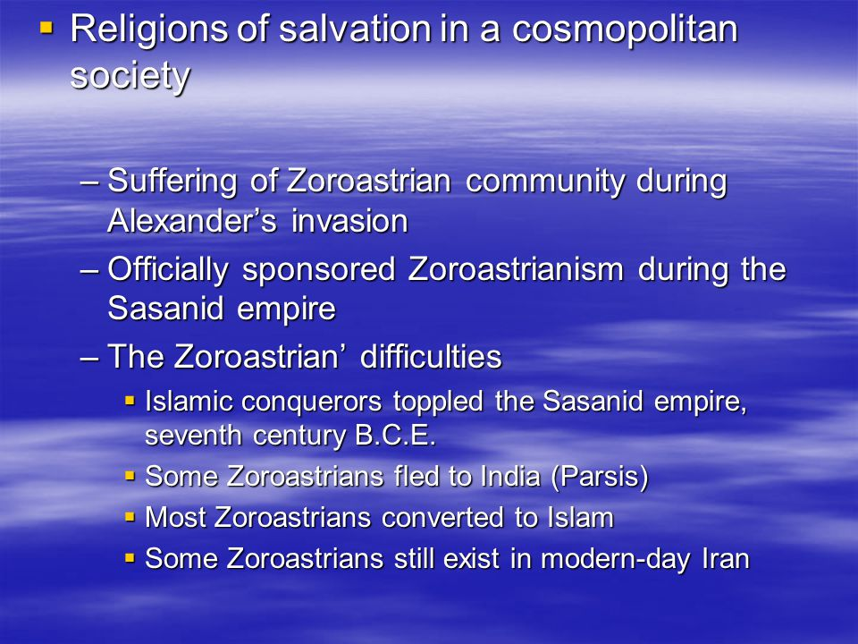 Religions of salvation in a cosmopolitan society