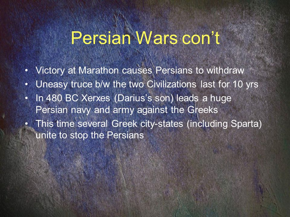 Persian Wars con't Victory at Marathon causes Persians to withdraw