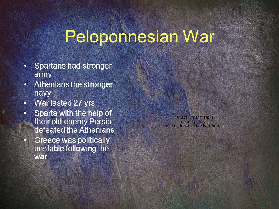 Peloponnesian War Spartans had stronger army