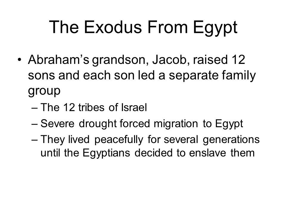 The Exodus From Egypt Abraham's grandson, Jacob, raised 12 sons and each son led a separate family group.