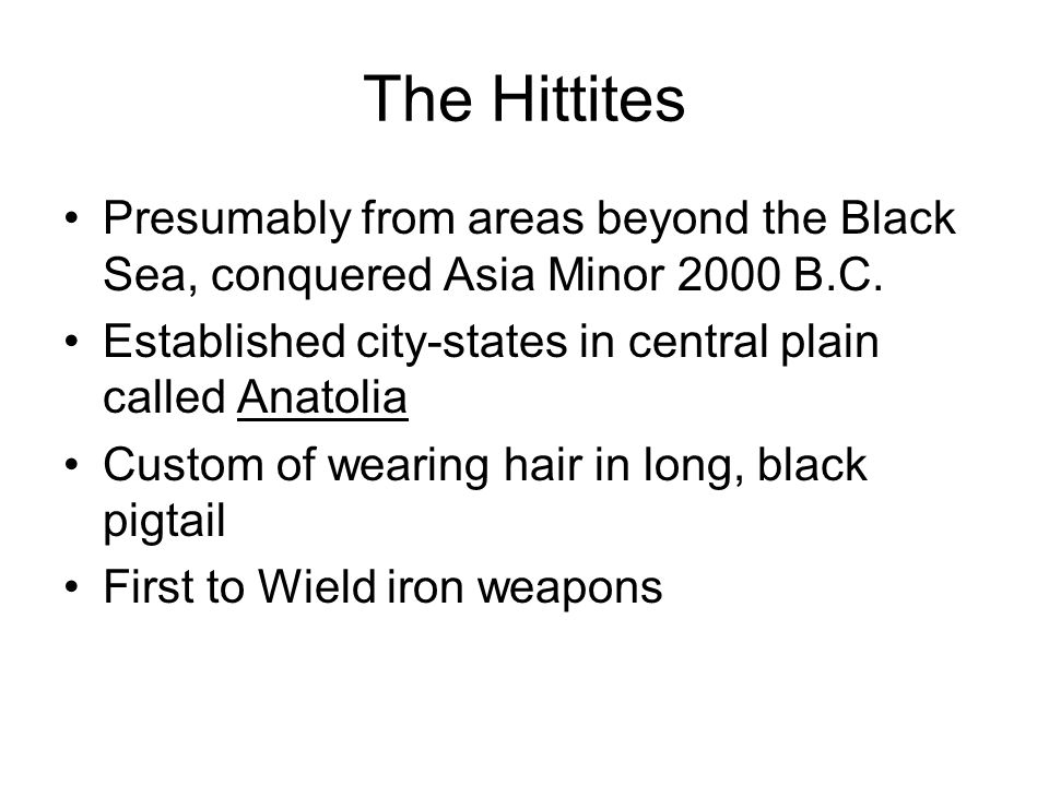 The Hittites Presumably from areas beyond the Black Sea, conquered Asia Minor 2000 B.C. Established city-states in central plain called Anatolia.