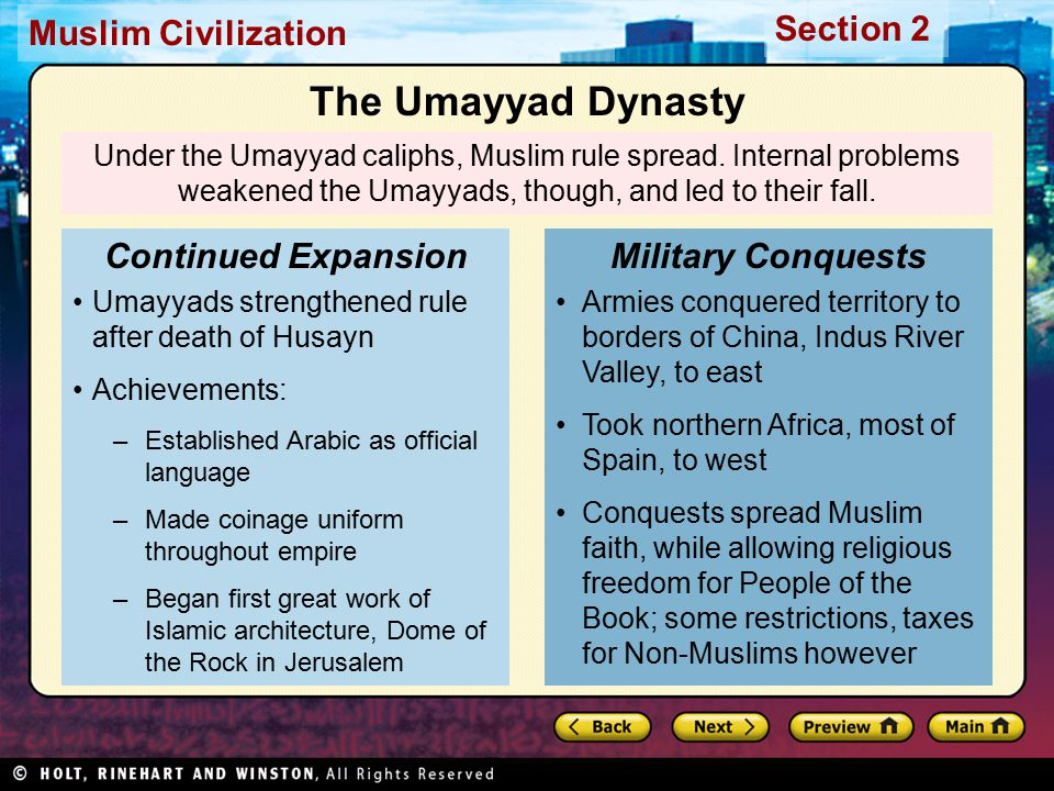 The Umayyad Dynasty Continued Expansion Military Conquests