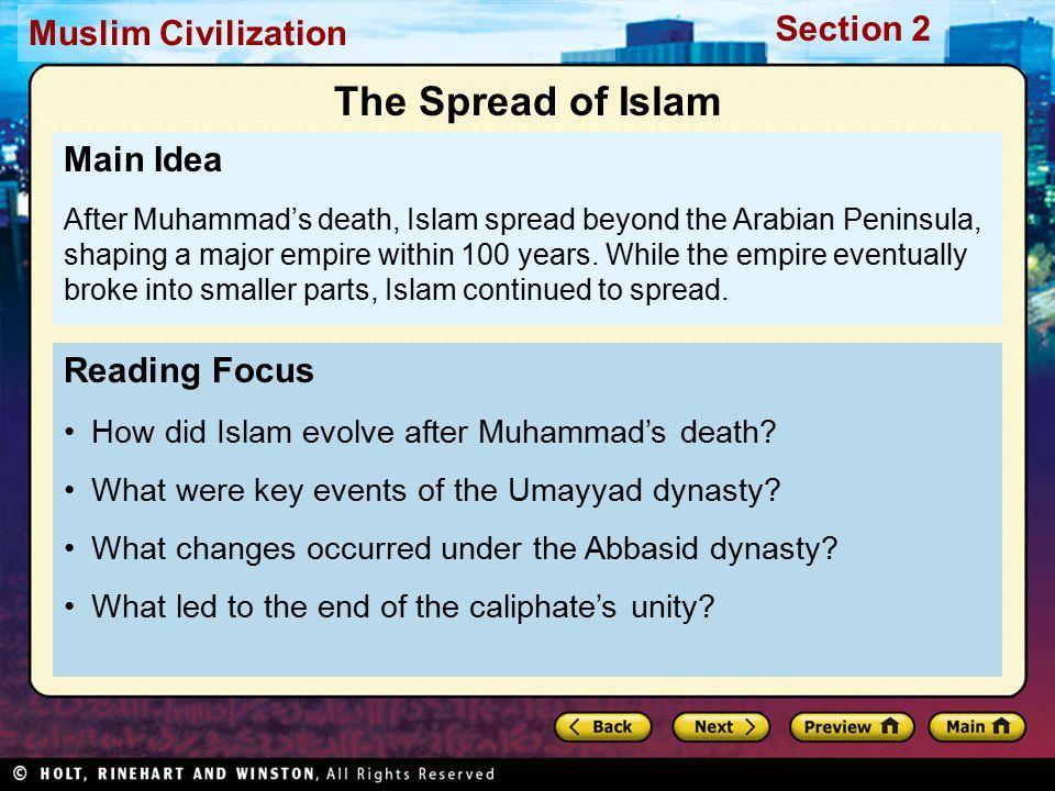 The Spread of Islam Main Idea Reading Focus