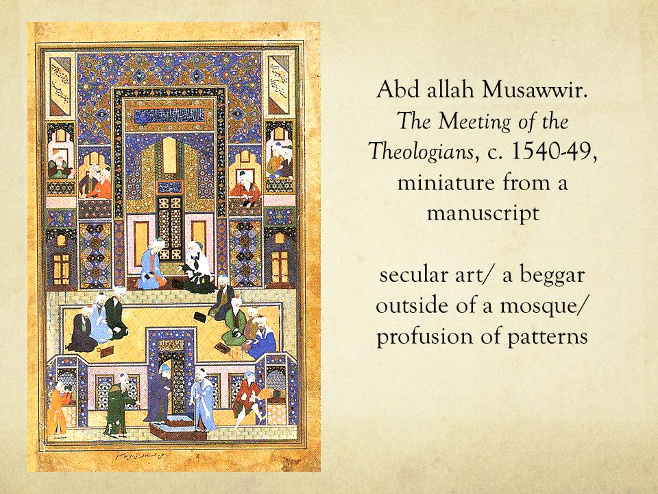 Abd allah Musawwir. The Meeting of the Theologians, c