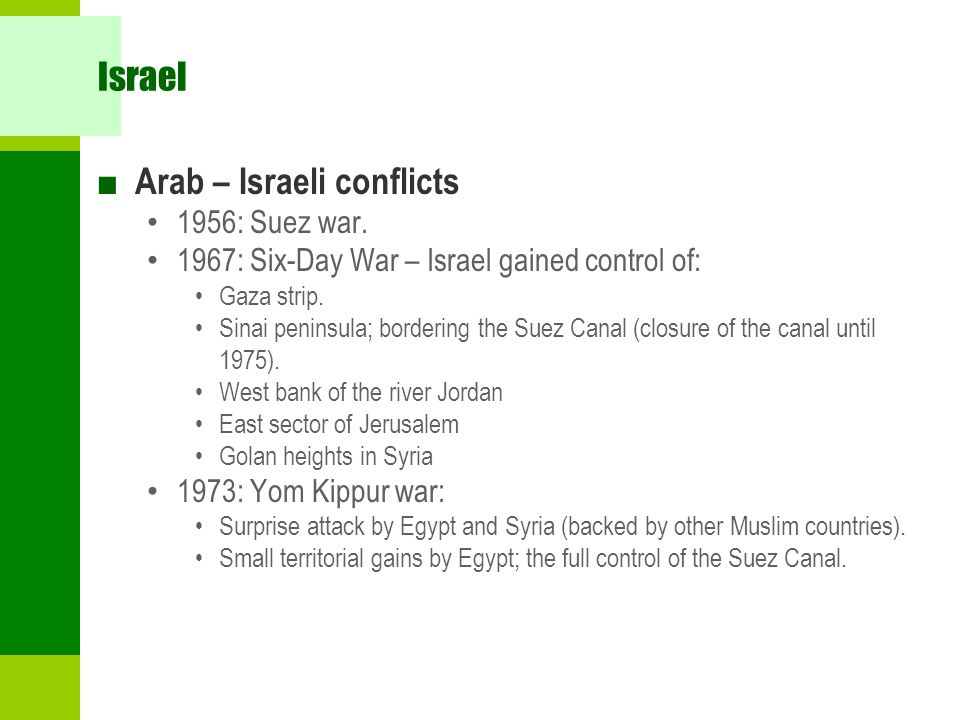Arab – Israeli conflicts