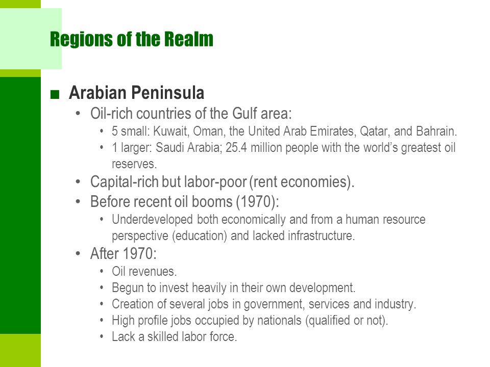 Regions of the Realm Arabian Peninsula