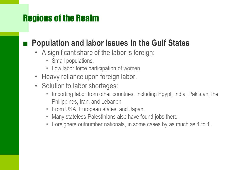 Population and labor issues in the Gulf States
