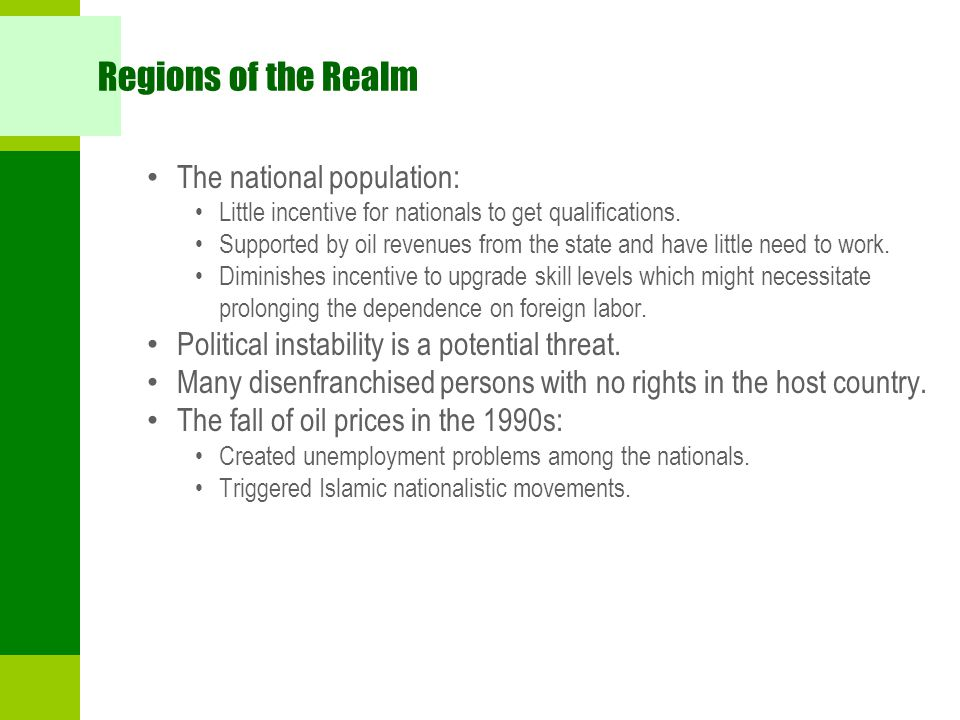 Regions of the Realm The national population: