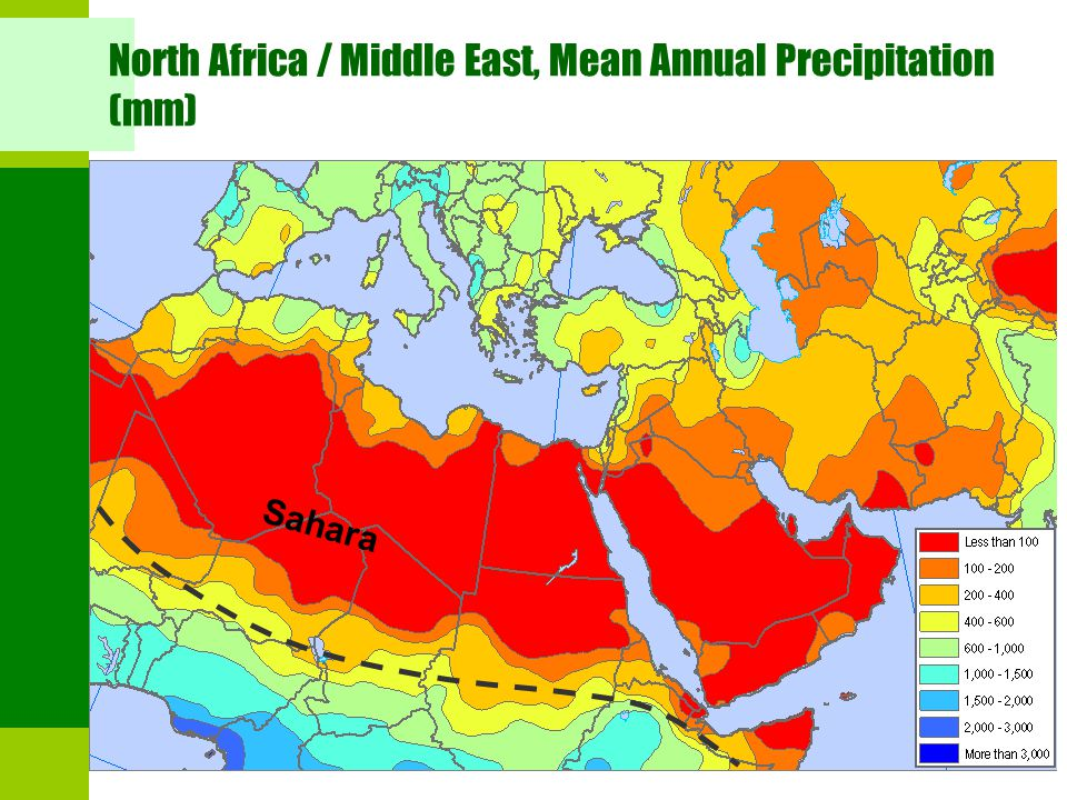 North Africa / Middle East, Mean Annual Precipitation (mm)