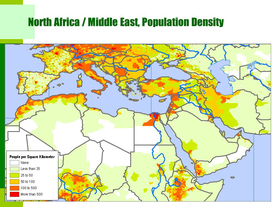 North Africa / Middle East, Population Density