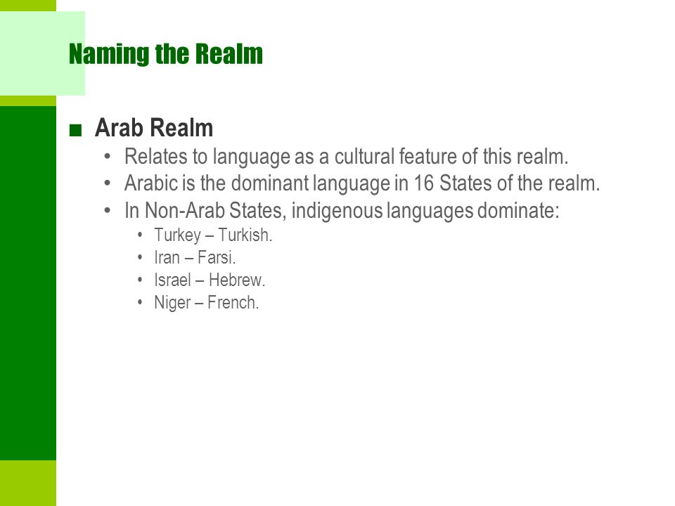 Naming the Realm Arab Realm