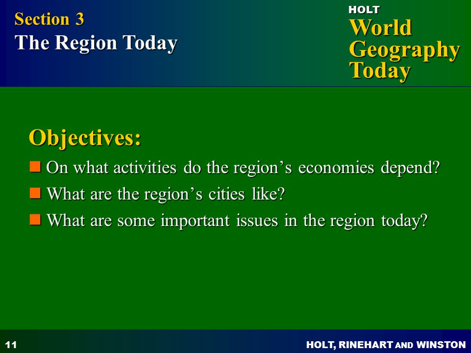 Objectives: Section 3 The Region Today