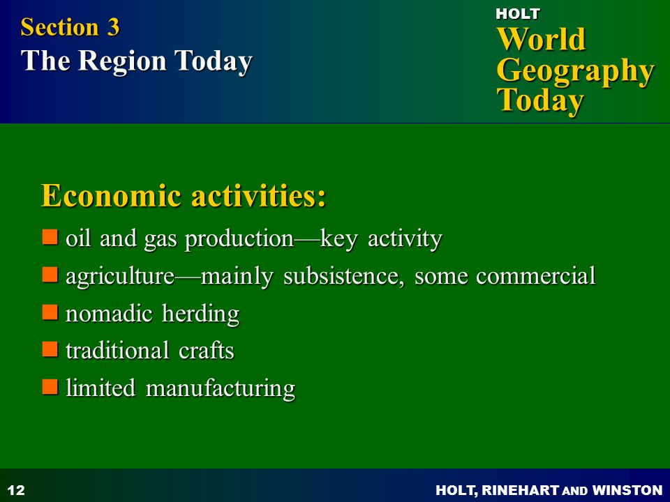 Economic activities: Section 3 The Region Today