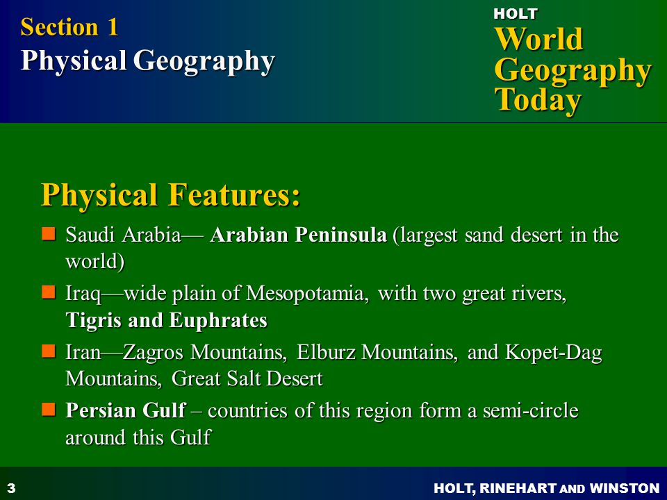 Physical Features: Section 1 Physical Geography