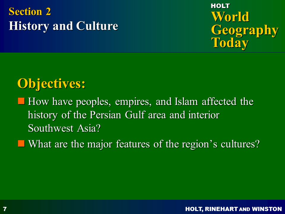 Objectives: Section 2 History and Culture