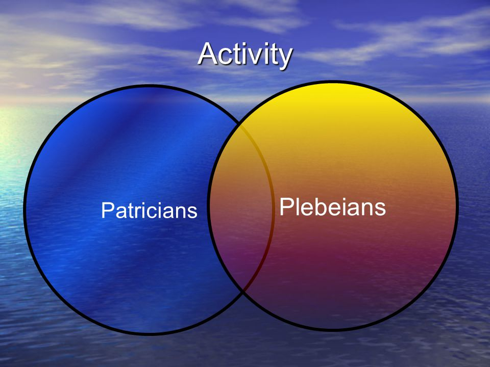 Activity Plebeians Patricians
