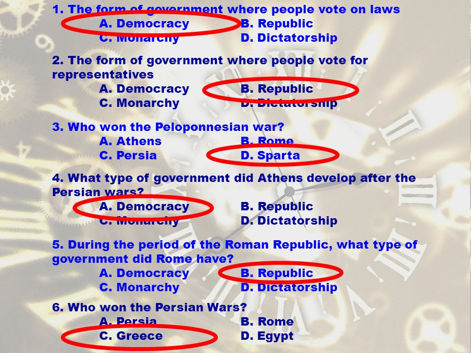 1. The form of government where people vote on laws