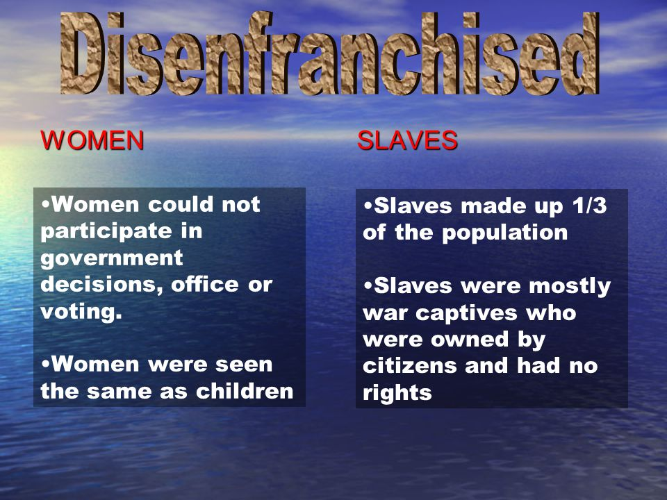 Disenfranchised WOMEN SLAVES