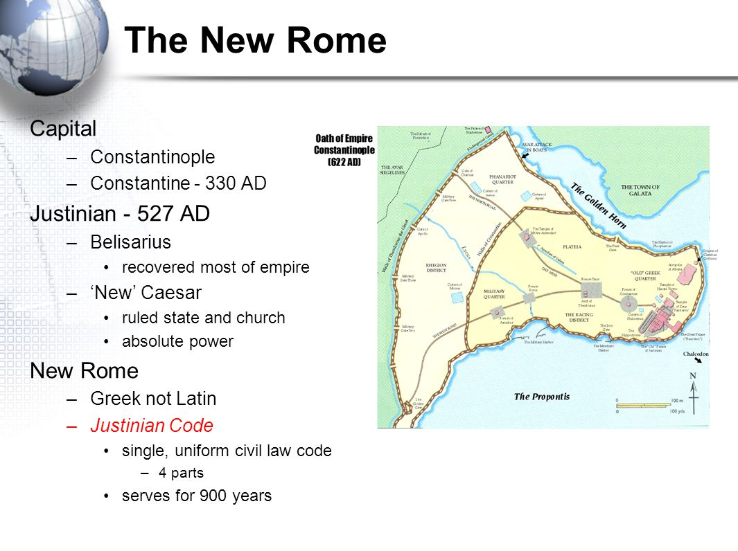 The New Rome Capital Justinian - 527 AD New Rome Constantinople