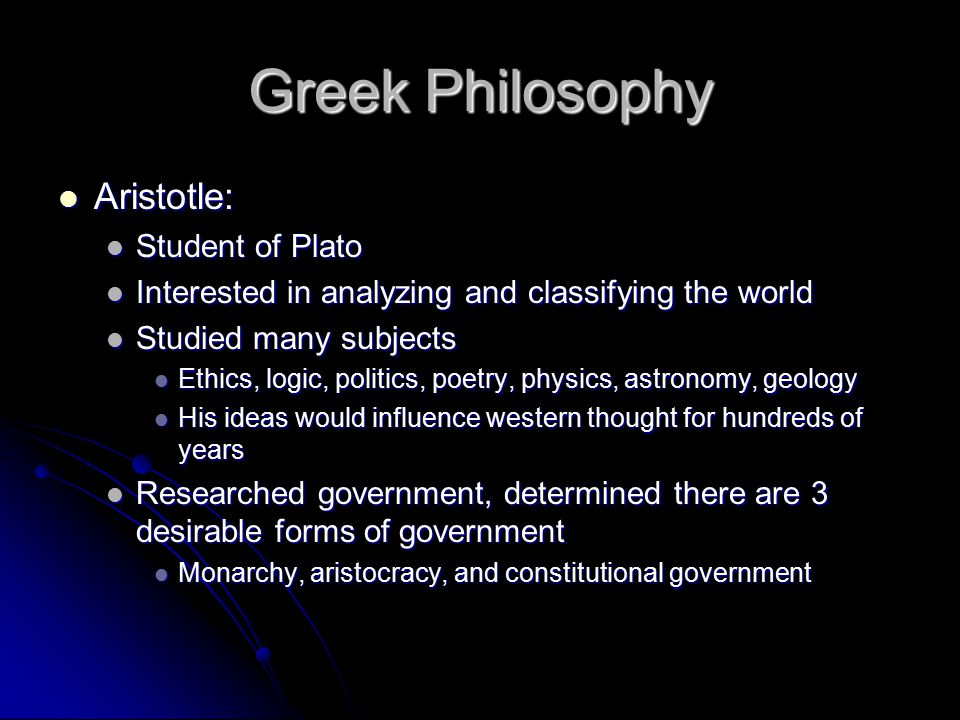 Greek Philosophy Aristotle: Student of Plato