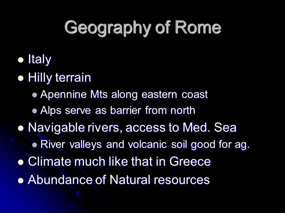 Geography of Rome Italy Hilly terrain