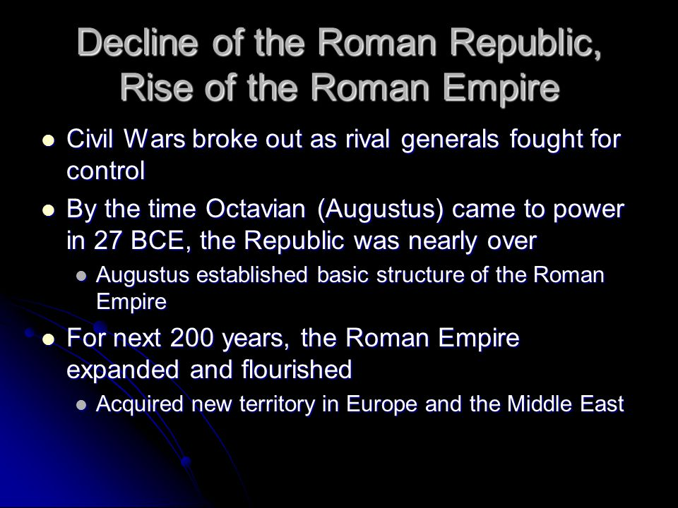 Decline of the Roman Republic, Rise of the Roman Empire