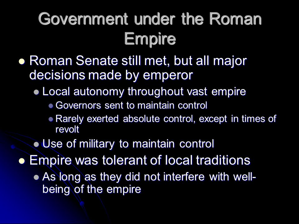 Government under the Roman Empire