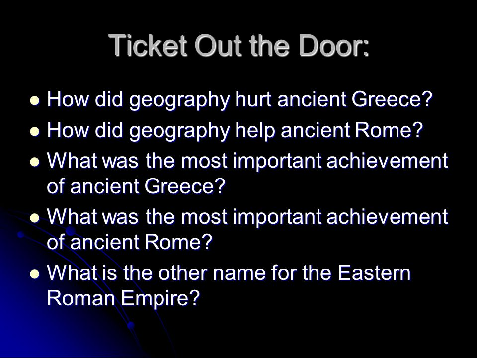 Ticket Out the Door: How did geography hurt ancient Greece
